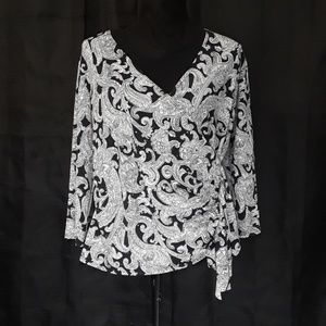 Studio 1940 Black & White Wrap Blouse- Large